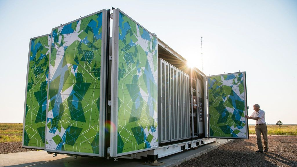 This Flex-manufactured enclosure holds a one megawatt lithium-ion battery system used by the National Renewable Energy Laboratory at its National Wind Technology Center in Arvada, Colo. (U.S. Department of Energy)