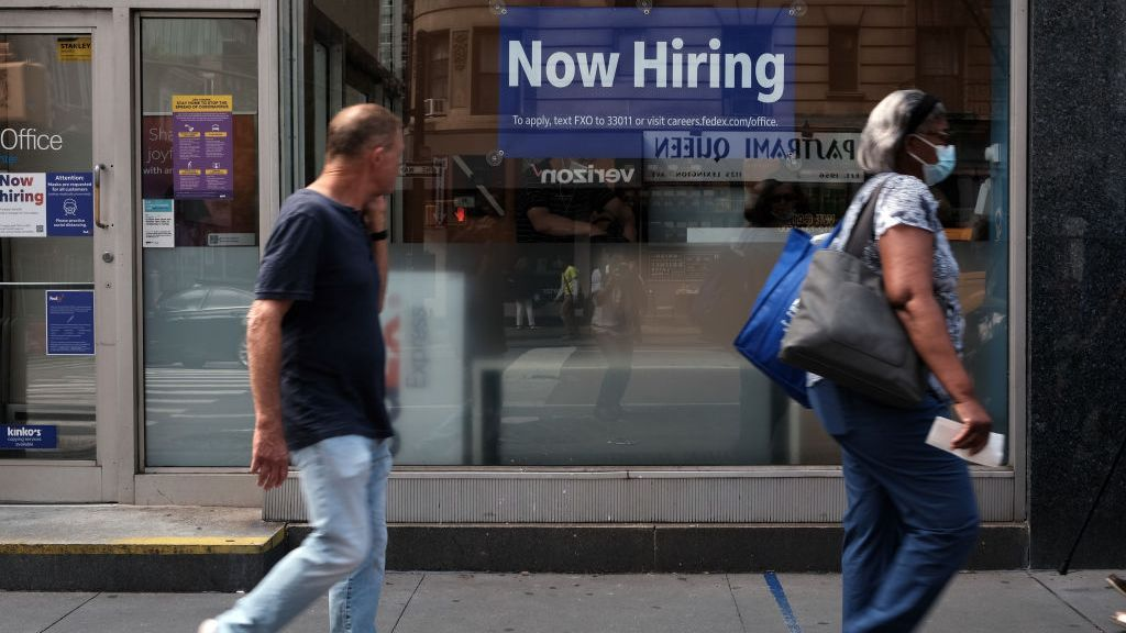 Even as help wanted signs are posted, the August jobs report showed a sharp drop in new employment, surprising many economists. It is the slowest job growth in eight months. (Spencer Platt/Getty Images)
